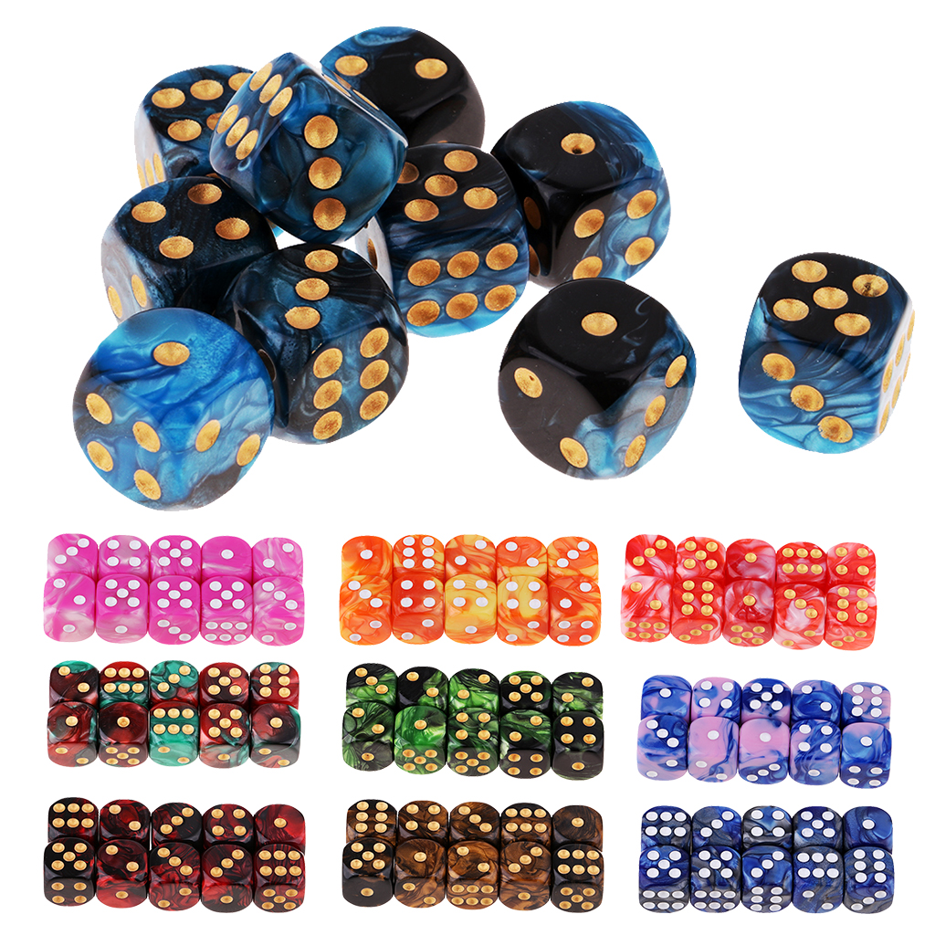 Wholesale 10pcs 6-sided 16mm Game Dice Set 10 Translucent Colors Square Corne For Board Game Teacher's Aids Math Games