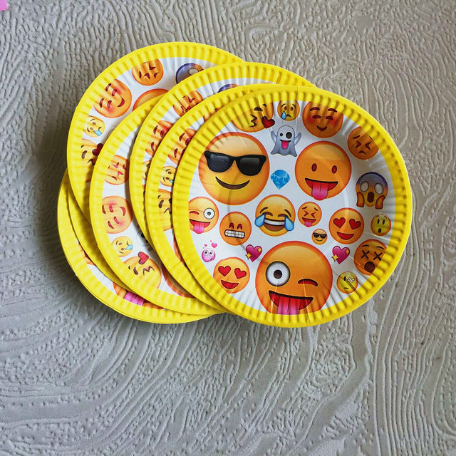 21pcs Lot Emoji Birthday Party Pack Decoration Banners Paper Plates Plato Cups Kid Tableware Set Supplies For 10 People