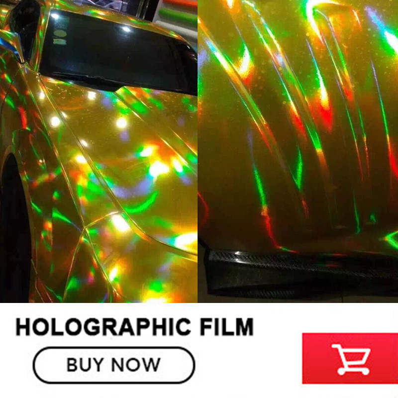 Best Quality 3 Layers Rainbow Gold Chrome Holographic Vinyl Wrapping Film Bubble Free For Car Wrapping Size:1.50*20M 5sheets pack 10cm x 5cm holographic adhesive film fly tying laser rainbow materials sticker film flash tape for fly lure fishing