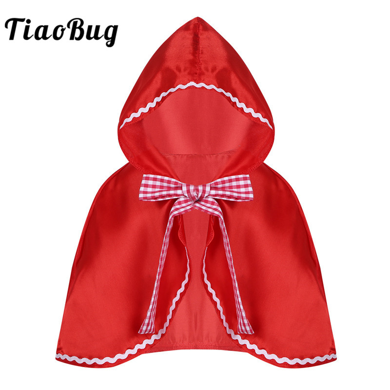 TiaoBug Cute Child Girls Satin Red Hooded Cloak Plaid Bowknot Cape Kids Halloween Christmas Costume Cosplay Party Xmas Dress Up