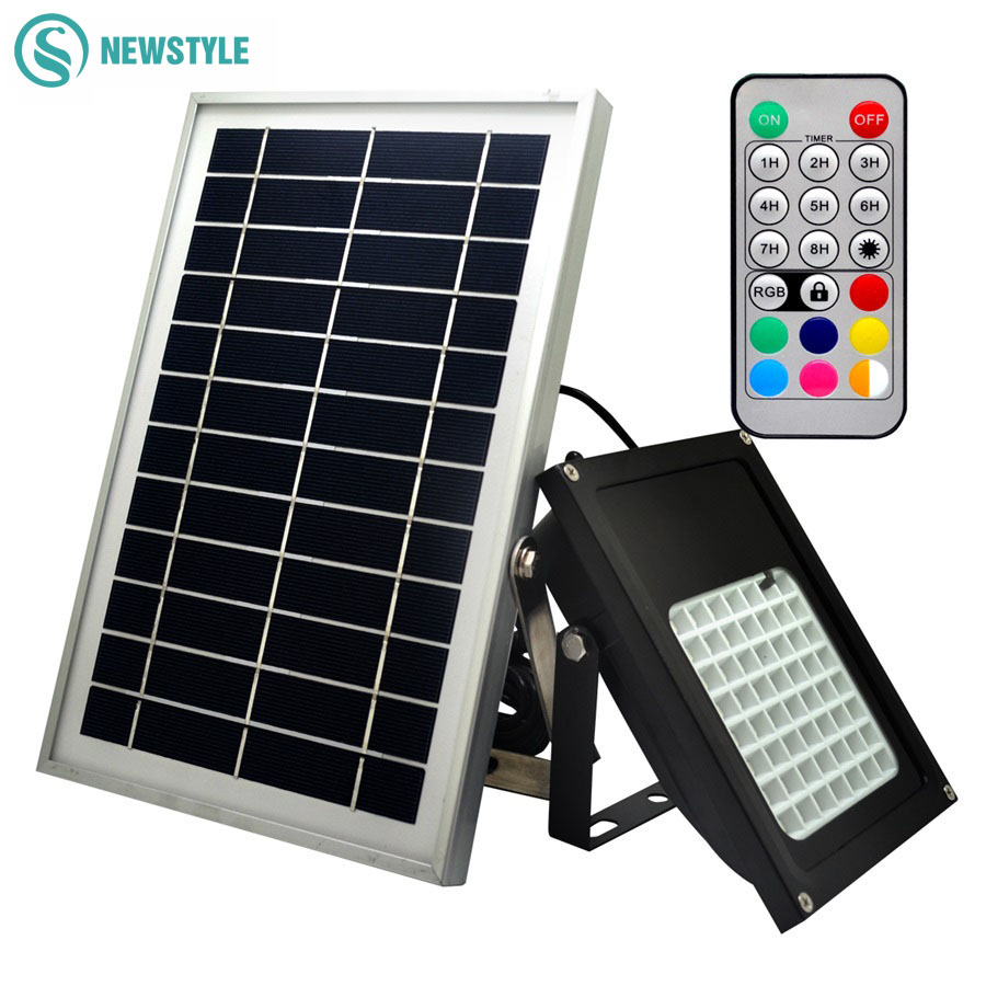 20/56Leds Solar Flood Lighting Waterproof outdoor LED Solar lamp Powered Garden Lights multi-function RGB+WW led Floodlights