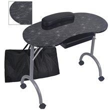 Модный узор с сумкой стабильный и прочный съемный портативный складной стол для ногтей с выдвижным ящиком колеса MT-017F