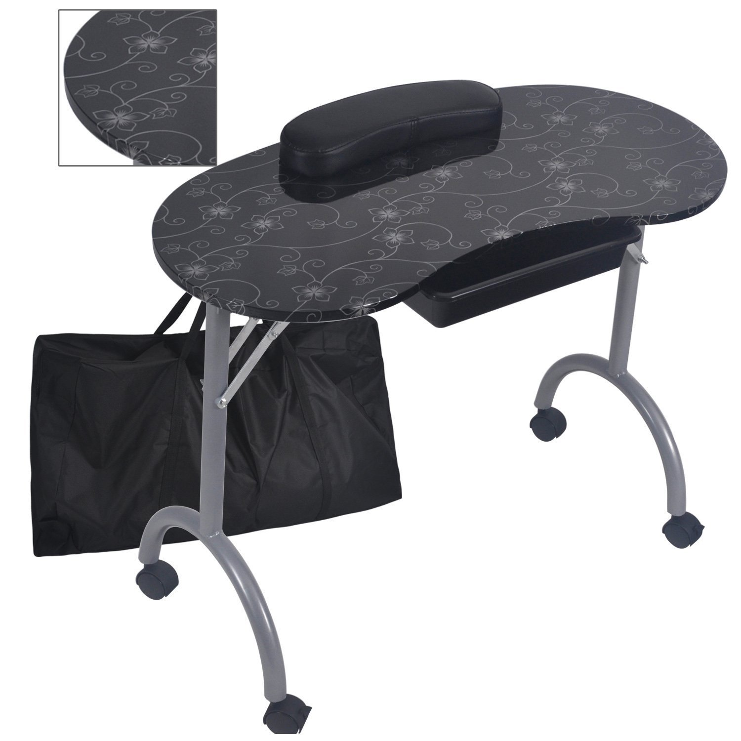 Fashion Pattern With Bag Stable And Durable Removable Portable Folding Nail Table Nail Table With Movable Wheel Drawer MT-017F