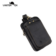 VANTER OX Waist Packs Real Leather Men Casual Waist Packs Small Bags Cowhide Fashion Hook Bum Bag Waist Belt Pack  1509 difenise new design men waist packs genuine leather fashion purse large capacity plane tanned leather waist bags real handmade