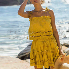 CUERLY Elegant hollow out solid co-ordinates women dress Sexy spaghetti strap ruffled female summer Vintage cotton