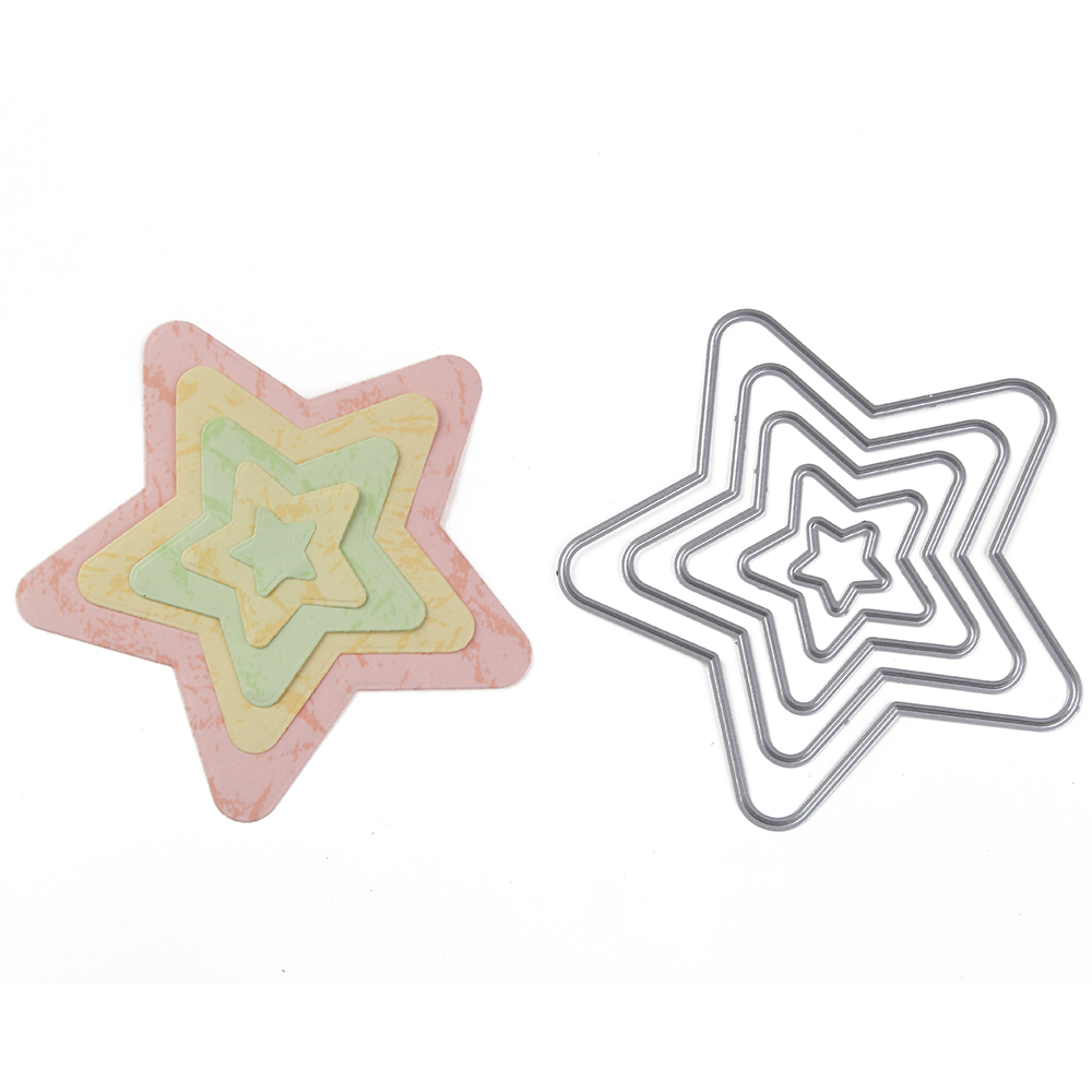 ForeWan Layer Star Frame Metal Cutting Dies Stencils Diy Handcraft Cut Paper Card For Scrapbooking Photo Decorative