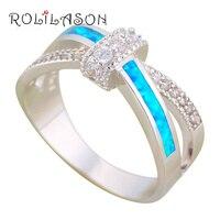 ROLILASON So Shining Zircon Office Style Blue Fire Opal 925 Silver Fashion Jewelry Rings USA Size