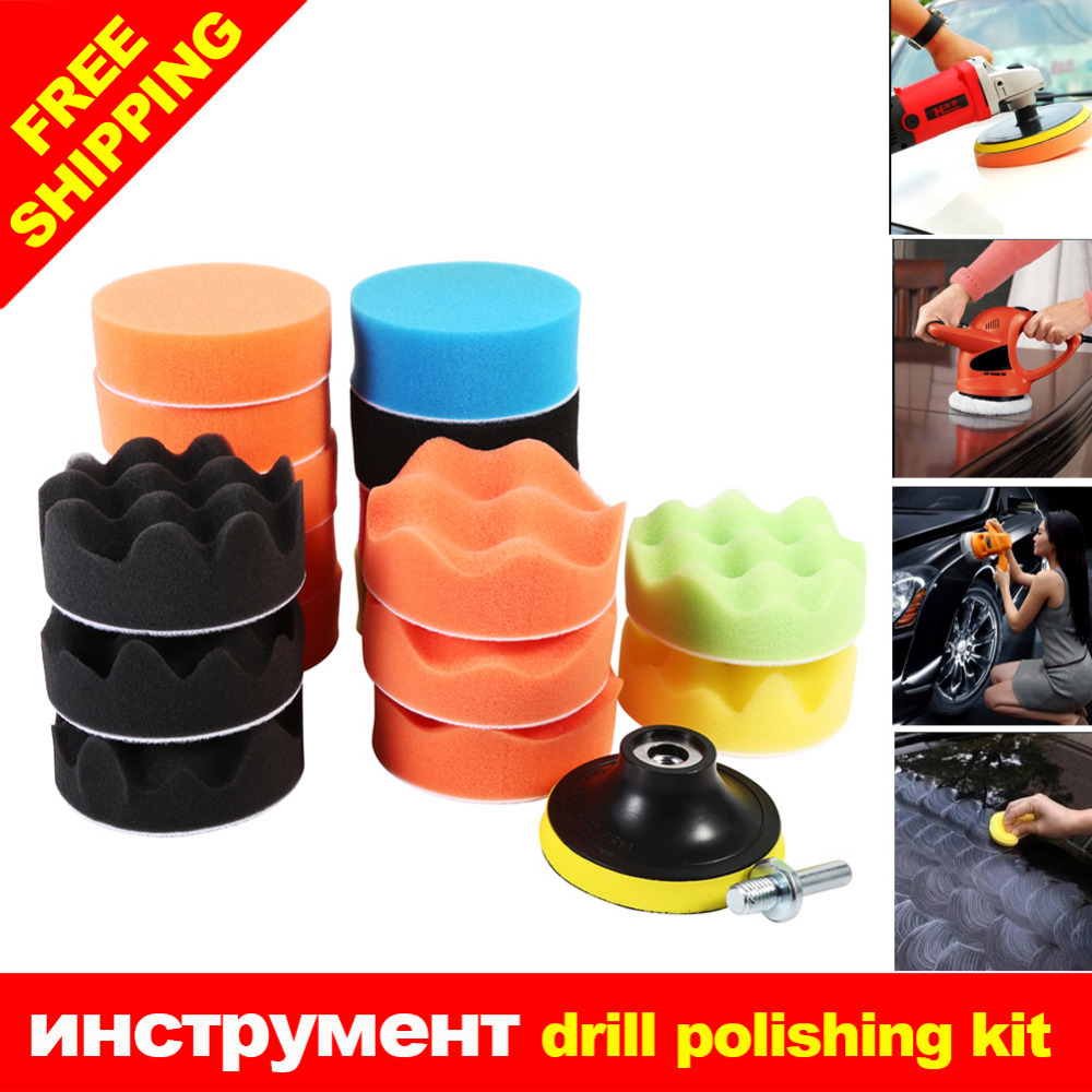 19Pcs Car Vehicle 80mm Polishing Pad with M10 Drill Adapter Tool Kit Set New