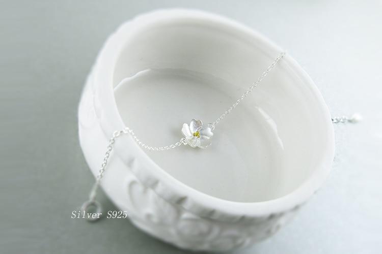 AKOLION Silver Cherry Blossoms Bracelets Charm Flower Bracelets 925 Sterling Jewelry For Girl Women 6