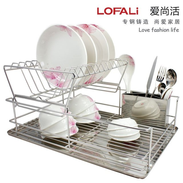 Free shipping!  Kitchen basket Multi-function Double-layer high quality dish rack,Cutlery holder