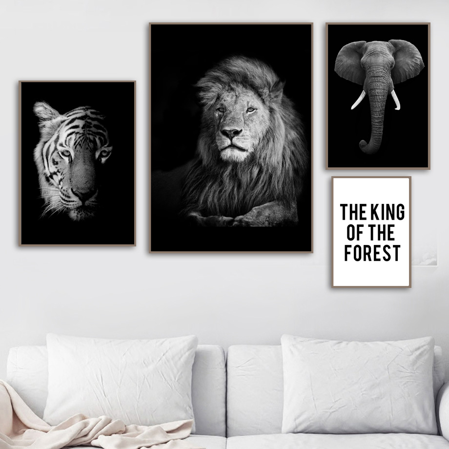 Lion Tiger Elephant Black White Quotes Wall Art Canvas Painting Nordic Posters And Prints Wall Pictures For Living Room Decor in Painting Calligraphy from Home Garden