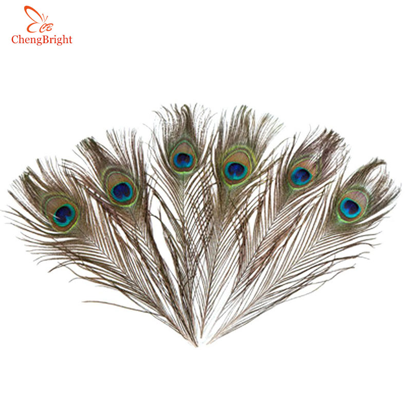 ChengBright Wholesale 100Pcs/lot Natural Peacock Feathers Length 25-32CM 10-13inch Peacock Feather Diy Jewelry Decorative Plume
