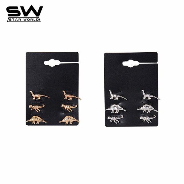 STARWORLD belas brincos animal dinossauro do metal do parafuso prisioneiro brinco de noivado casamento jóias brincos para as mulheres homens 3 Pares/set