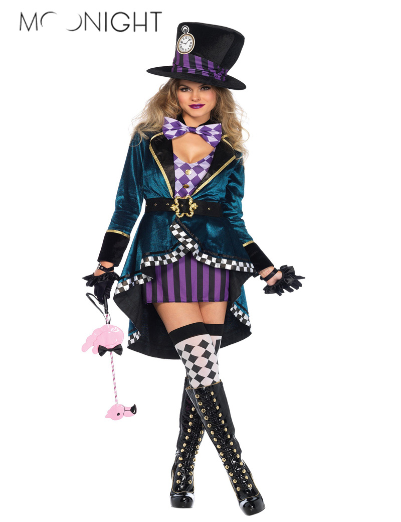 MOONIGHT Alice In Wonderland Costume Mad Hatter Costume for Women Halloween Witch Dress Sexy Magician Costume Magic Show Wear