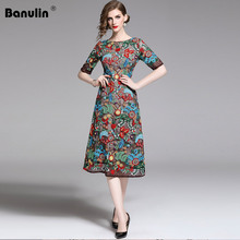 Banulin New 2019 Fashion Runway Summer Dress Womens Short Sleeve Floral Embroidery Elegant Mesh Hollow Out Midi Dresses