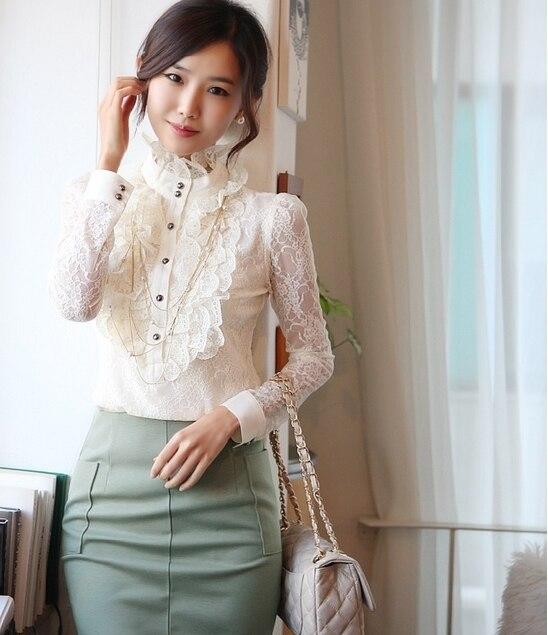 7bfb84f08caa Fashion personality women's lace long sleeve shirt elegant female ...