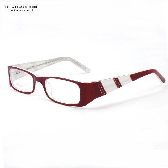 Rojo y Blanco de Color Mujeres Del Estilo Moderno de fotograma Completo Con Bling DE PIEDRA de Diseño de Moda Cuadrados Anteojos Ópticos HM3020