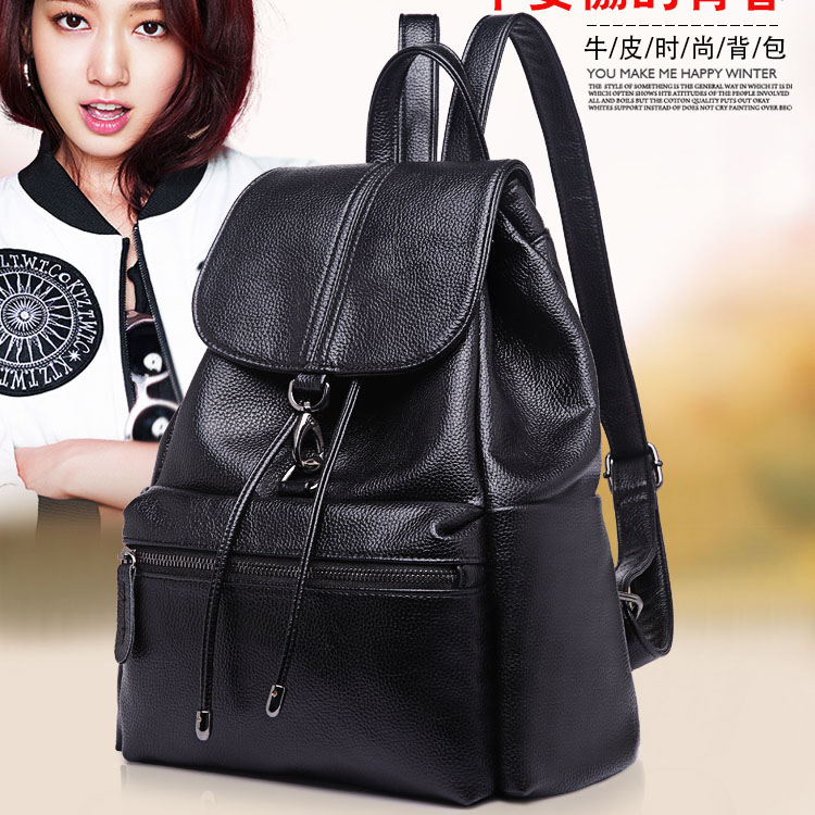 ФОТО 2017 Cowhide Genuine Leather Bag for Women Cow Leather bag Women Backpack Mochila Feminina School Bag for Teenager 33103