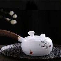 PINNY Handpainted Plum Blossom Pattern Tea Pot Matte White Porcelain Teapots High Quality Chinese Kung Fu Tea Set Chinaware