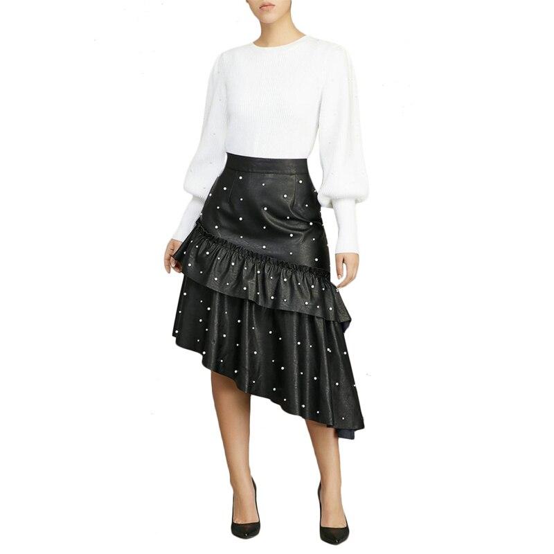 Fashion 2019 Spring Autumn Casual PU Leather Skirt Women Elegant Zipper Beading Asymmetrical Bodycon Pleated Skirts Black