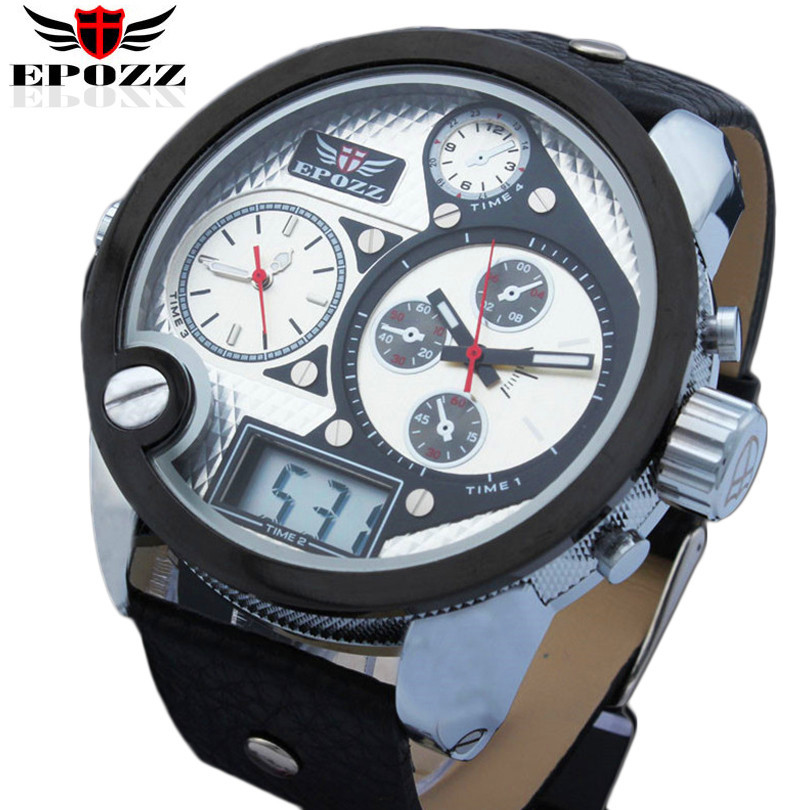 EPOZZ Brand new quartz watch for men sport large dial oulm watches casual male imported  waterproof 30M digital clock 2305 np shock resistant waterproof watch men 2016 new nylon sport watches ultra slim watchcase men s fashion clock large white dial