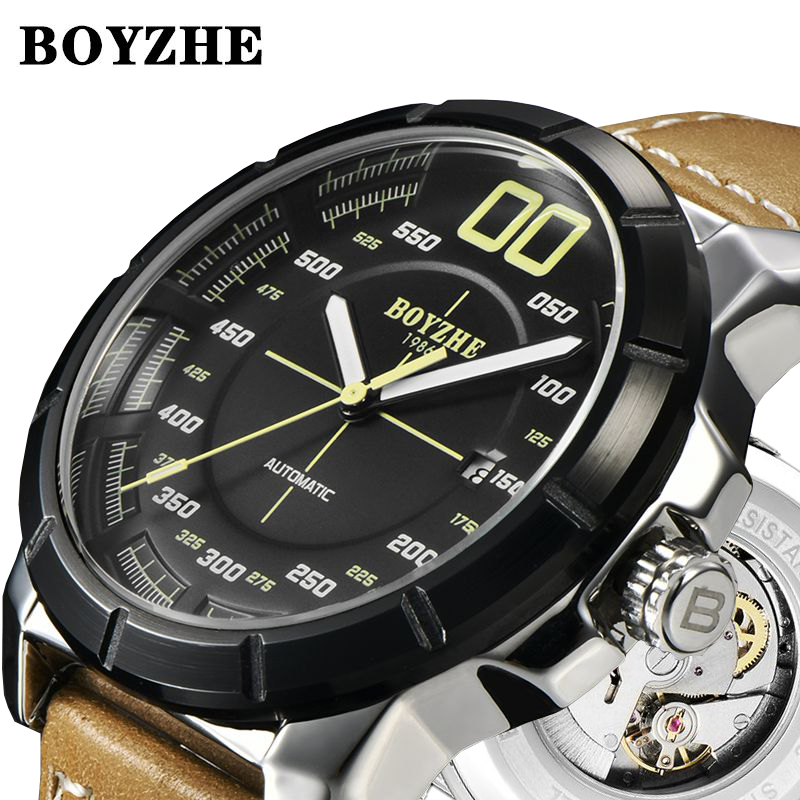 Boyzhe 기계식 시계 남자 자동 뚜르 비옹 reloj hombre 럭셔리 브랜드 시계 mens luminous sports leather montre homme-에서기계식 시계부터 시계 의  그룹 1
