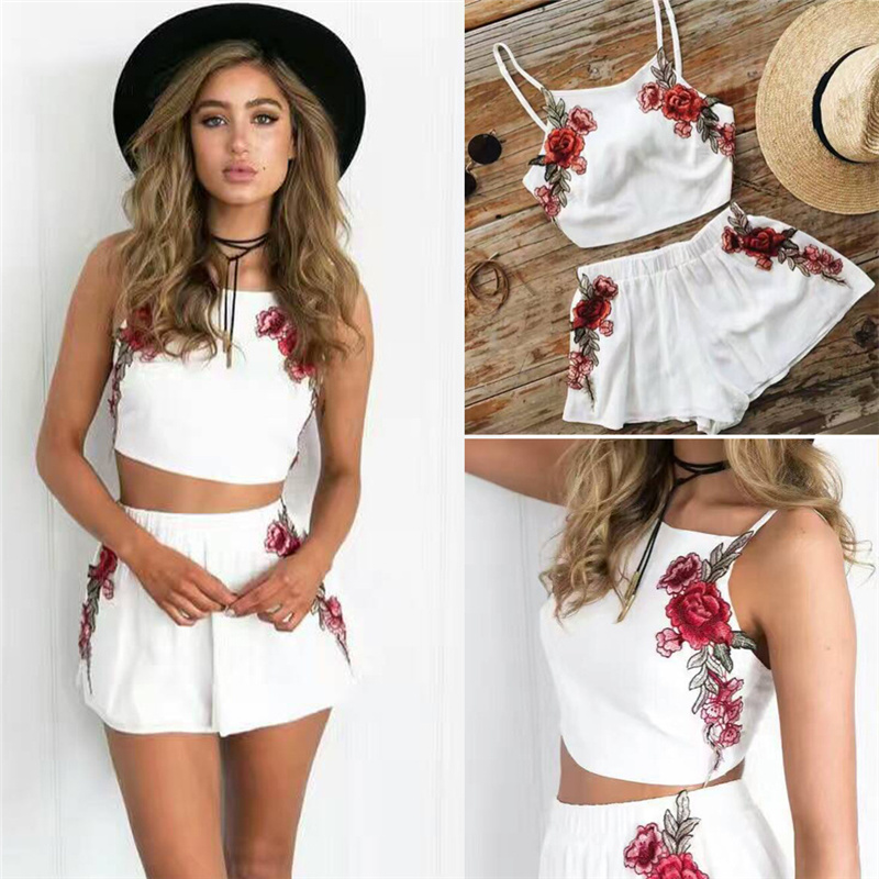 White Boho Flower Embroidered Elegant Two Pieces Women Jumpsuit Romper Short 2018 Summer Jumpsuits Black Overalls Beach Playsuit