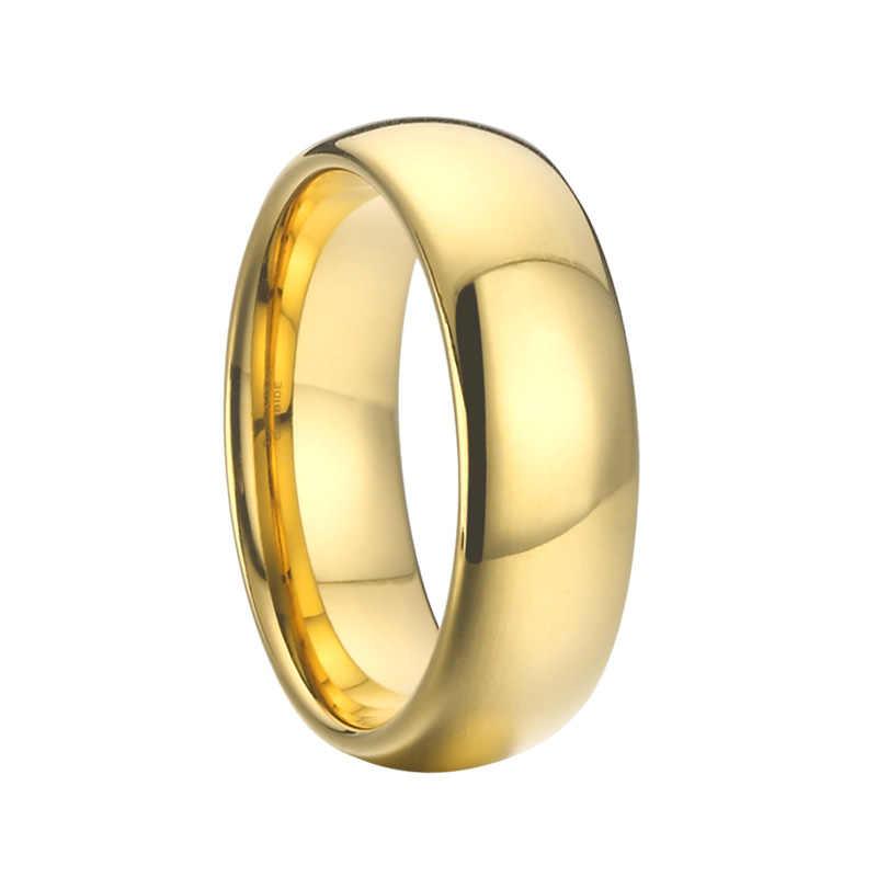 4 8mm Stainless Steel Men Women Wedding Band Gold Ring D Shape Sizes M-Z New