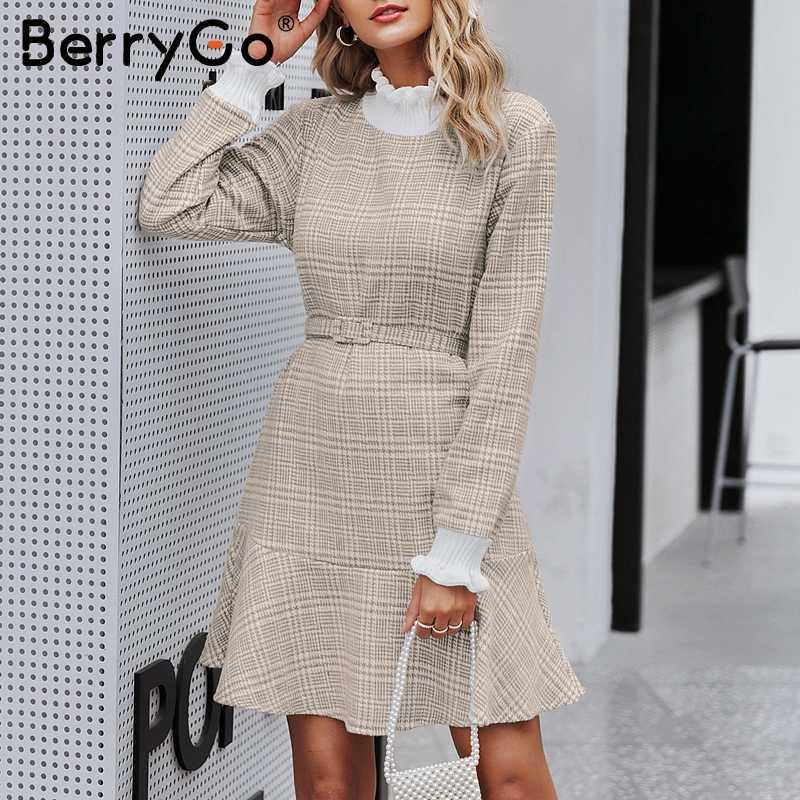BerryGo Элегантное платье в клетку женское коротким трикотажным платьем женское с рюшами и винтажными осенними офисными дамскими платьями