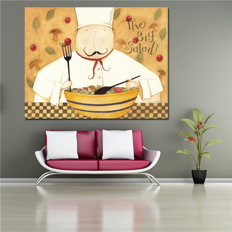 9a616dd60 RELIABLI الزخرفية اللوحة المشارك و طباعة الشيف و الحساء قماش اللوحة للمطبخ  مطعم جدار ديكور فني للمنزل غير المؤطرة