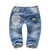 От 1 до 4 лет детская одежда джинсы для мальчиков и девочек штаны из мягкой джинсовой ткани с цветочной вышивкой Kawaii детская одежда для малыш...