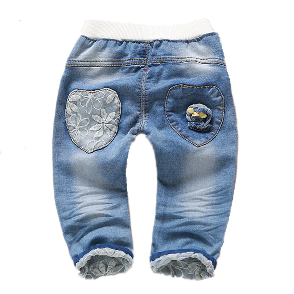 1-4T Baby Clothing Boys Girls Jeans Pants Soft Denim Embroidery Floral Kawaii Kids Clothes Toddler Pants Bebe Jeans High Quality