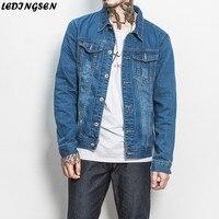 LEDINGSEN 2018 Spring New Design Fashion Skinny Blue Denim Jacket Men Slim Ripped Jeans Jacket Coats