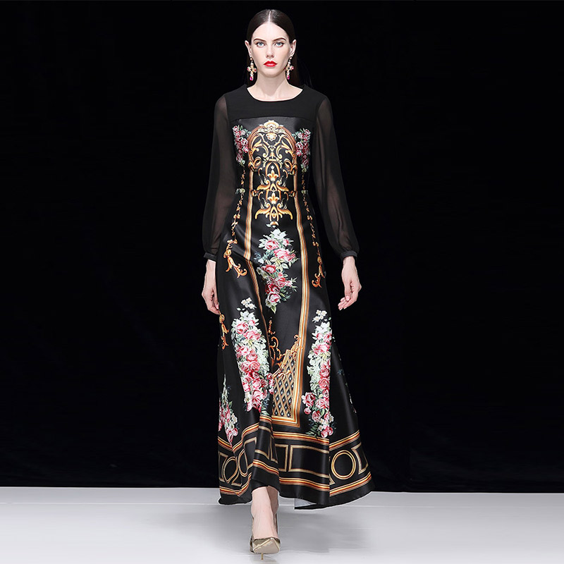 Europe and the United States women's pendulum round collar snow spins dress twill cotton long sleeve court print dress
