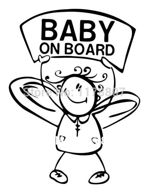 Baby On Board Vinyl Decals For Car Window Truck Bumper Auto Door Kayak Bee Sticker Family Figure Funny Baby In Car