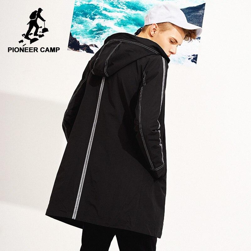 Acampamento pioneiro novo estilo primavera longo casaco de trincheira dos homens roupas de marca casual mens zipper com capuz trincheira moda masculina trench AFY803117