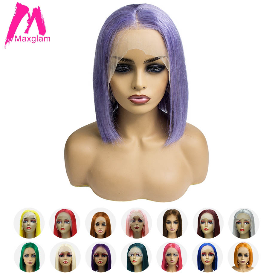 Maxglam Blonde 613 Bob Lace Front Wig Short Lace Front Human Hair Wigs Pink Blue Multiple
