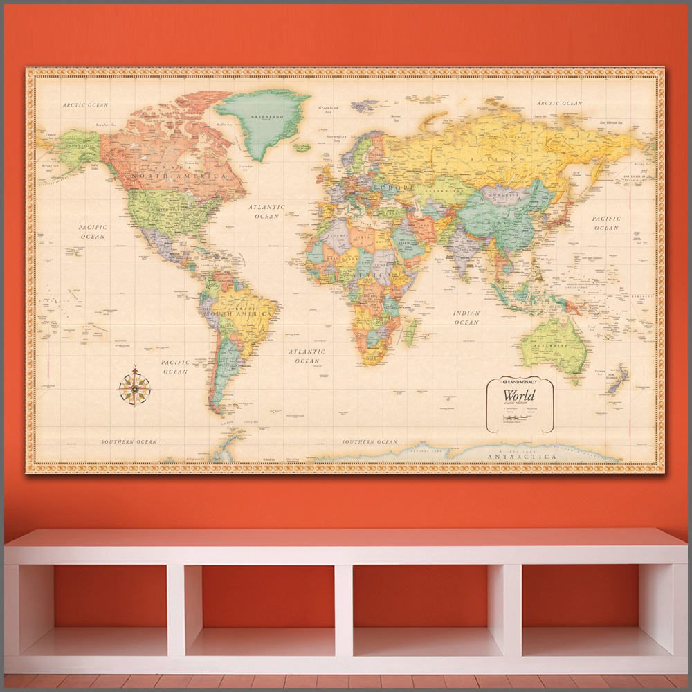 Us 9 78 51 Off Large Size Printing Painting Art Wall Map Of The World Wall Art Home Decor Living Room Modern Canvas Print Paintings No Frames In