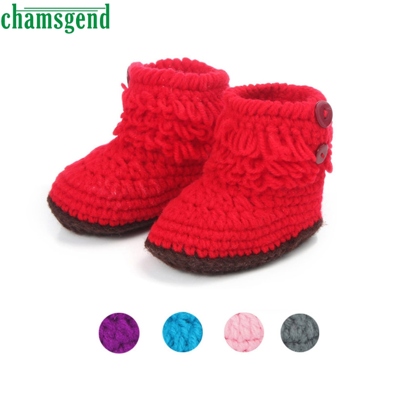 CHAMSGEND Best Seller Baby Girls Crochet Handmade Knit High-top Tall Boots Shoes 3-2 months S35