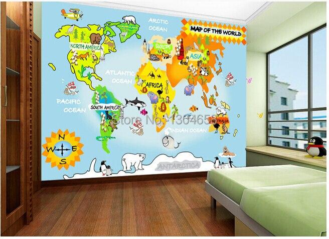 Papier peint personnalisé de carte du monde de bande dessinée pour le papier de parede intérieur de chambre d'enfants de salon