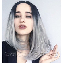 12inch cheap good quality synthetic striaght hair short bob wigs synthetic short ombre gray natural hair wigs for black women