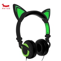 HOTGO Foldable Flashing Glowing Cat Ear Headphones Gaming Headset Earphone With LED Light For PC Laptop