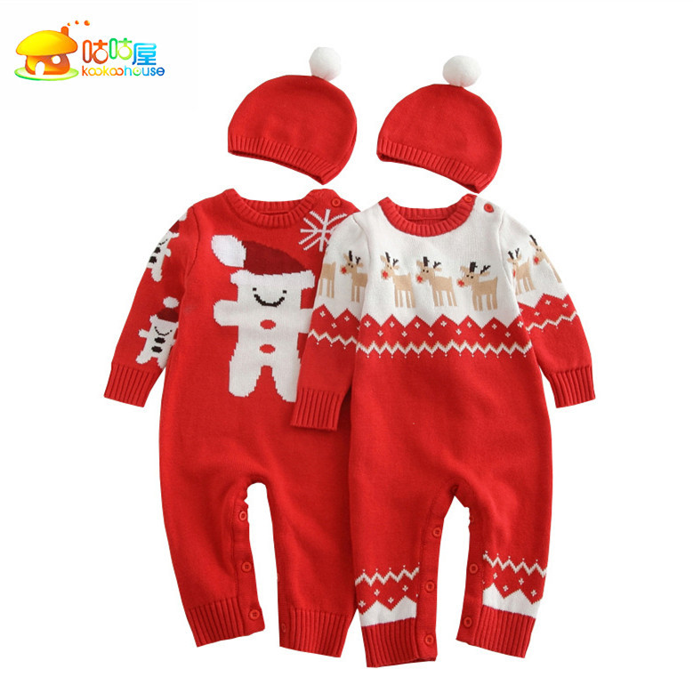 New 2016 autumn winter rompers newborn baby clothes girls / boys overalls kids Knitted cotton christmas jumpsuits + hats sets autumn winter baby hats new fashion children warm ball hat double color boys and girls cotton caps beanies baby knitted hat