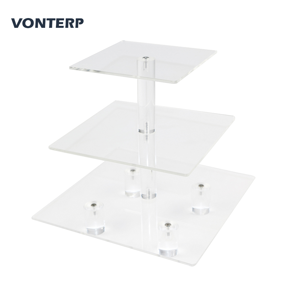 VONTERP 1 PC square 3 Tier Acrylic Cupcake Display Stand acrylic cake holder with base 3 Tier square 4 7 quot between 2 layers in Stands from Home amp Garden