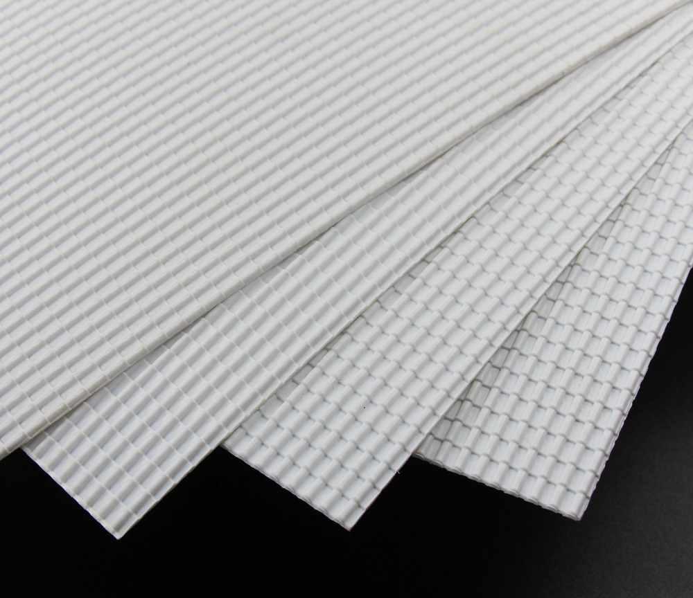 ABS37 2pcs ABS Plastic Styrene Plasticard Roof Tiles Sheet 215mm x 300mm White Architectual