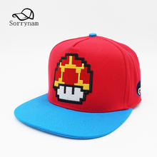 3651b4bea4b Super Mario Bros Mushroom Embroidery Snapback Cap Cotton Baseball Cap  Unisex Hat Hip hop Sun hat For Men and Women Gorras