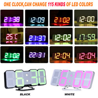 Digital Table Clock Time Alarm Clock LED Wall Clock With 115 Colors Remote Control Digital Watch Night Light Magic Desktop