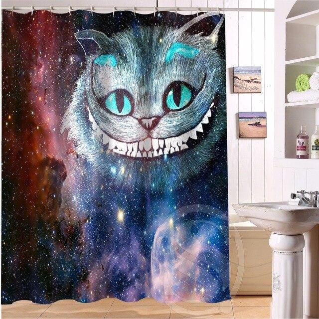 Custom Galaxy Cat Animal 4 Fabric Modern Shower Curtain Bathroom Waterproof Bath LRM825QA37