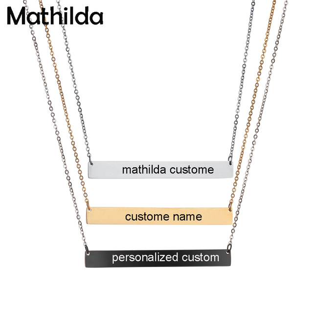 a720df632f6d3 US $7.37 18% OFF|30*7mm Gold Color Bar Custom Engraved Name Necklace For  Women Personalized Initial Necklace Chain Necklace Etsy Supplier D379-in ...