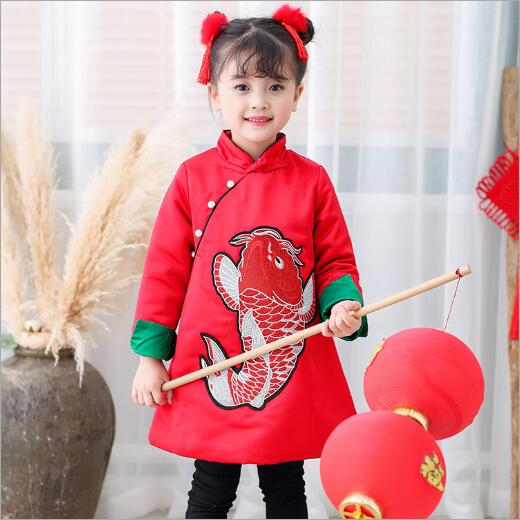 Autumn and winter Tang girls dresses 2017 new children's Chinese style cotton new year plus cashmere embroidery cheongsam dress